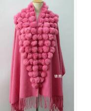 Real Genuine Cape Wool cashmere shawls scarf cashmere stoles rabbit fur ball bal