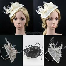 Vintage Feather Flower Fascinator Cap on Head Band Derby Ascot Race Hairdress