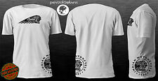 MENS WHITE T Shirt  VINTAGE INDIAN MOTORCYCLES  Double Logo Print  Free Postage
