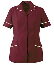 ALEXANDRA HP298 Burgundy-Cream Zip Nurses Tunic NHS/DENTAL/VETERINARY S 8-