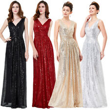 SEQUIN V Neck Long Evening Formal Party Ball Gown Prom Bridesmaid Cocktail Dress