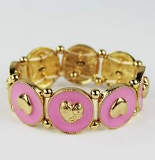 ​fashion ​new enamel pink love heart stretch bracelet female ​elastic bangle​
