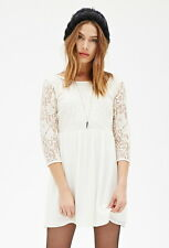 Forever 21 Cream 3/4 Sleeves Lace Combo Smock Dress Small S