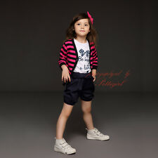 3Pcs Girls Striped Jacket + T-Shirt + Shorts Set Summer Casual Clothing Outfits