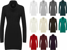 New Womens Plain Cowl Neck Long Sleeve Sweater Top Ladies Knitted Jumper