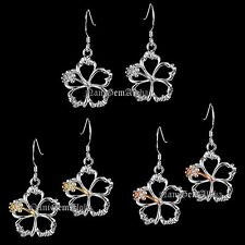 Hawaiian Earring Hibiscus Flower Out Line Floating 925 Sterling Silver Dangle