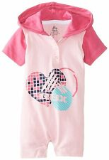 Rbx Baby Girls Hooded Heart Print Bodysuit Rompers Logo with Heart