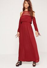 Influence Red Cheesecloth Summer Cold Shoulder Boho Hippy Fest Lace Maxi Dress