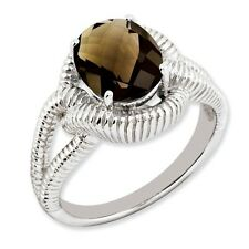 Sterling Silver Round Shaped Smoky Quartz Ring 4.28 gr Size 5 to 10
