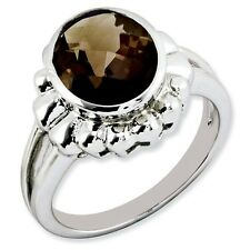 Sterling Silver Round Stone Smoky Quartz Ring 4.73 gr Size 5 to 10