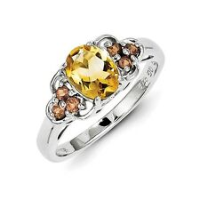 Sterling Silver Oval Cut Citrine & .76 CT Garnet Ring 2.15 gr Size 6 to 8
