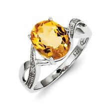 Sterling Silver Oval Cut Citrine & .01 CT Diamond Ring 1.91 gr Size 6 to 8