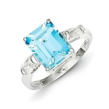 Sterling Silver Emerald Cut Blue Topaz & Clear CZ Ring 2.49 gr Size 6 to 8