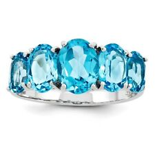 Sterling Silver Five Stone Oval Cut Blue Topaz Ring 1.82 gr Size 6 to 8
