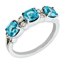 Sterling Silver 3 Stone Blue Topaz & .10 CT Diamond Ring 1.80 gr Size 5 to 10