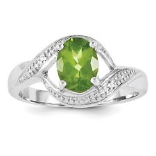 Sterling Silver Oval Cut Peridot & .01 CT Diamond Ring 2.62 gr Size 6 to 8