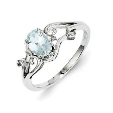 Sterling Silver Oval Cut Aquamarine & .10 CT Diamond Ring 1.65 gr Size 6 to 9