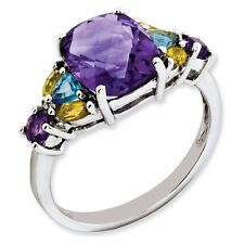 Sterling Silver Square Amethyst Blue Topaz & Citrine Ring 1.98 gr Size 5 to 10