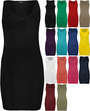 New Womens Racer Back Plain Ladies Sleeveless Bodycon Mini Dress Vest Top
