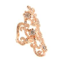 Vintage Elephant Punk Hollow Flower Crystal Rhinestone Armor Finger Knuckle Ring