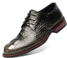 Mens Fashion Formal Shoes Crocodile Pattern Leather Oxfords Lace Up Low Heel