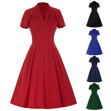 Retro Vintage 50s Short Sleeve V-Neck High Stretchy Party Cocktail Swing Dress