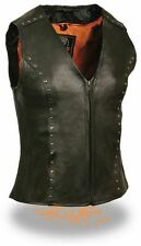 WOMEN'S MOTORCYCLE RIDING BLACK FITTED ZIPPER LEATHER VEST W/STUDS 2 GUN POCKET