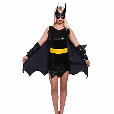 Womens Heroine Cosplay Costume Batgirl Hen's Night Carnival Fancy Dress Outfit