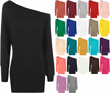 New Ladies Plain Long Sleeved Batwing T-Shirt Womens Stretch Tunic Top Size