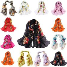 Women Girls Chiffon Silk Flowers Long Soft Neck Scarf Shawl Wrap Scarves New HOT