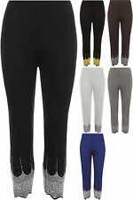 New Womens Sequin Leggings Ladies Stretch Elasticated Silver Gold Pants