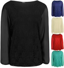 New Plus Size Womens Lace Long Sheer Chiffon Sleeve Ladies Party Top