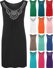 New Ladies Sleeveless Long Stud Top Womens Plus Size Stretch Scoop Neck