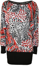 New Womens Plus Size Black Red Print Long Batwing Sleeve Ladies Tunic Top