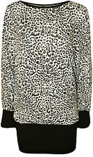 New Womens Plus Size Leopard Animal Print Long Batwing Sleeve Ladies Top