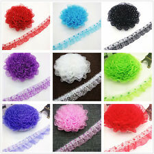 DIY 1/3/5 yards 25MM 45MM 2-Layer Organza Lace Gathered Pleated Sequined Trim