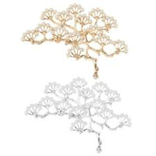 Diamante Pearl Gold Silver Tone Vintage Pearl Alloy Brooch Pine Tree Branch