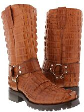 Mens New Crocodile Alligator Tail Leather Motorcycle Harness Cognac Boots