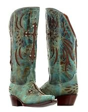 womens distressed turquoise brown leather cowgirl cowboy boots western rodeo