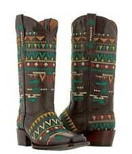 Womens Brown Leather American Indian Navajo Western Cowgirl Cowboy Rodeo Square