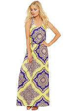 Womens Balloon Maxi Dress Ladies Sleeveless Twist Knotted Back Paisley Print