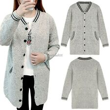 New Fashion Women Casual V-Neck Long Sleeve Knit Long Loose Cardigan Sweater GT5