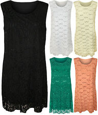 New Womens Plus Size Floral Lace Sequin Ladies Sleeveless Party Dress
