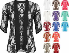 New Plus Size Womens Lace Short Sleeve Ladies Open Cardigan Top