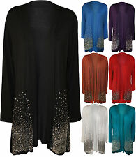 New Plus Size Ladies Sequin Cardigan Long Sleeve Womens Sparkle Top