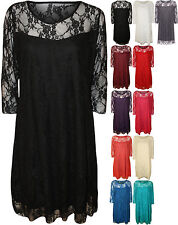 New Plus Womens Lace Lined Ladies 3/4 Sleeve Knee Length Stretch Dress