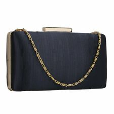 Navy Blue Satin Clutch Bag Ladies Evening Wedding Prom Party Handbag New