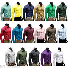 Mens Luxury Stylish Casual Long Sleeve Dress Shirts Slim Fit Solid Shirts