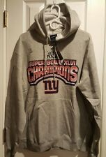 Reebok NFL New York Giants Super Bowl XLVI 46 Champions Grey Fleece Hoodie NWT