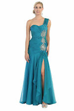 Long One Shoulder Style Sequins Chiffon Prom Plus Size Formal Evening Party Gown